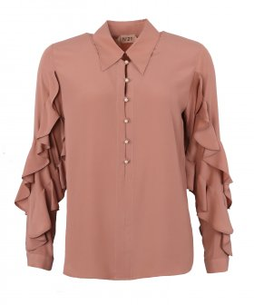 Nº21 - No. 21 Ruffle Shirt with Pearls