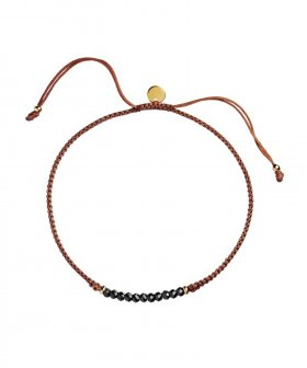 STINE A - S.A Candy Bracelet - Black Spinel and Rust Ribbon