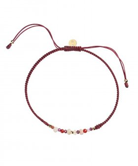 STINE A - S.A Candy Bracelet - Red Mix and Bordeaux Ribbon