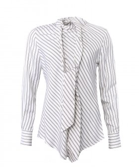 See By Chloé - See By Chloé Striped Shirt w. Tiebow