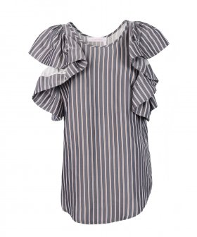 See By Chloé - See By Chloé Striped Ruffle Top