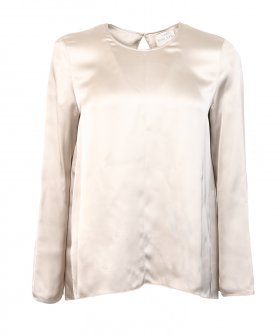 Forte_Forte - Forte_Forte Fluid Satin Round Neck Top