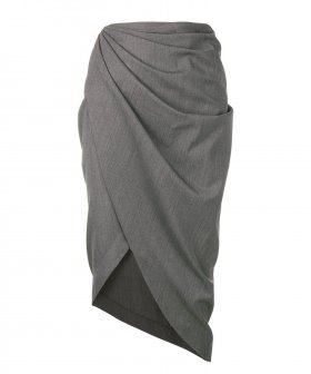 Helmut Lang - Helmut Lang Draped Wool Skirt
