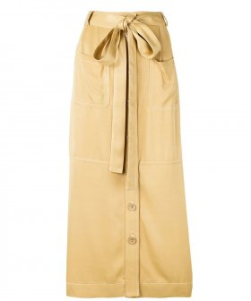 See By Chloé - See By Chloé Midi Belt/Button Skirt