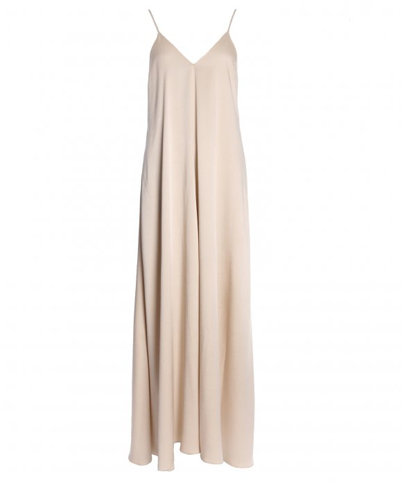 Forte_Forte - Forte_Forte Long Viscose Satin Crepe Slip Dress